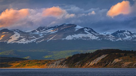 Contrasting colours and textures characterise the landscape of Tierra del Fuego, Argentina