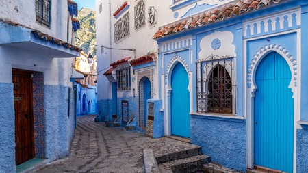 Chefchaouen in the Rif, northern Morocco, famed for its blue-wash buildings