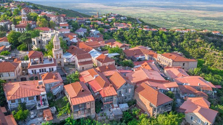 The wine region of Kakheti, Georgia, is also known for its houses with red rooftops