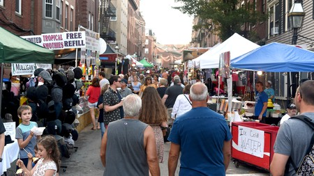 People pack the narrows streets during the annual Fisherman's Feast in Boston's North End, a three-month series of festivals celebrating Beantown's Little Italy with delicious food and processions
