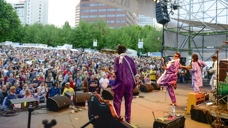 Bombino plays to a packed crowd at the Waterfront Blues Festival at Tom McCall Waterfront Park
