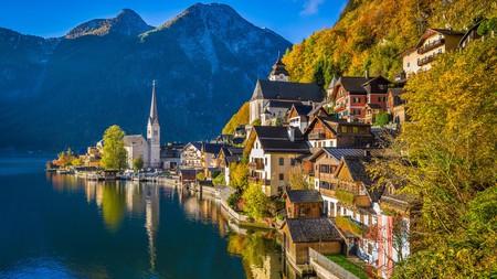 The Alpine village of Hallstatt, Austria, is especially beautiful in the fall