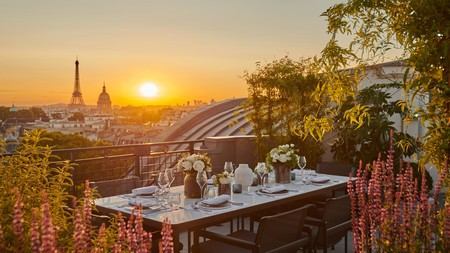 The Hotel Lutetia offers views across Paris from its charming rooftop terrace