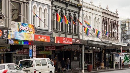 Row of shops, restaurants and bars, Auckland