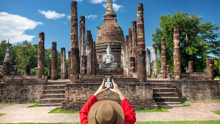 Wat Sa Si is a core attraction at Sukhothai Historical Park in northern Thailand