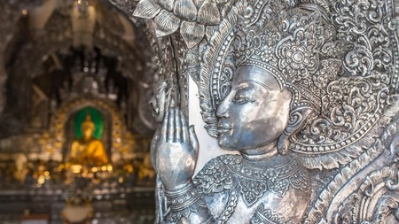 The ornate Wat Sri Suphan in Chiang Mai is known for its silver, hand-crafted decoration