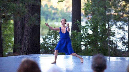 Actor Holly Curran appears on stage at the Lake Tahoe Dance Festival