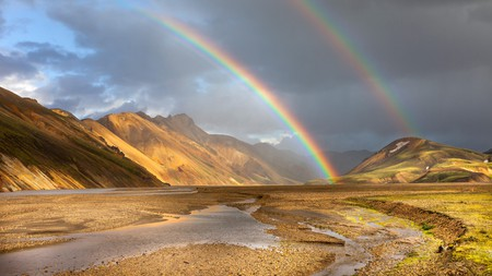 Time it just right and you could even catch double rainbows over the Barmur Rhyolite Mountains in Iceland