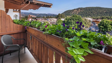 Take in scenic views from your balcony at the Bavarian Lodge in Leavenworth