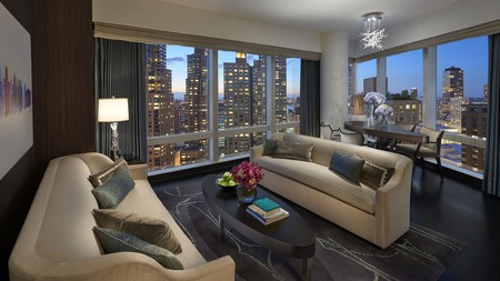 Enjoy amazing views of New York City from a suite in the Mandarin Oriental