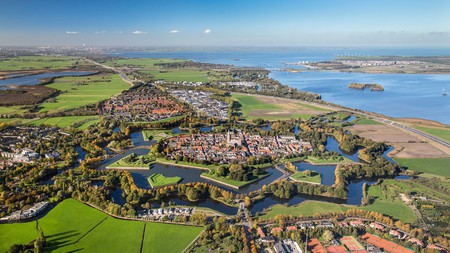 Naarden is a unique, star-shaped fortified village with canals, ramparts, bastions and ravelins
