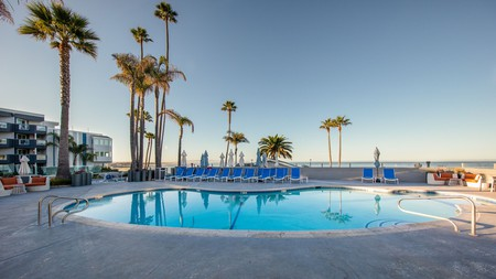 While your dog rests, you can take a dip in the pool at the SeaCrest Oceanfront Hotel