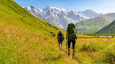 Reconnect with nature and enjoy the scenery on a hike through the Caucasus Mountains