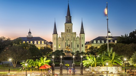 St Louis Cathedral dominates pretty Jackson Square in New Orleans
