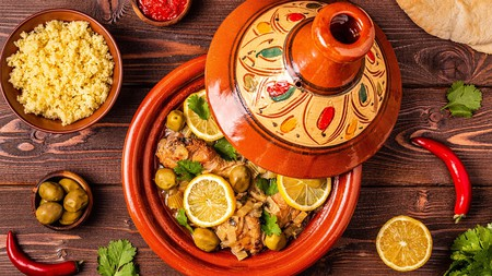 A traditional Moroccan tajine of chicken with salted lemons and olives