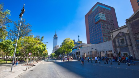 The Torre Latinoamericana and Palace of Fine Arts near Alameda Central Park in Mexico City