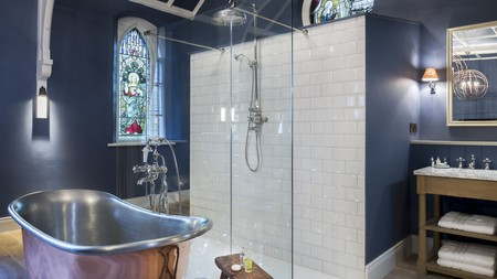 The Cookie Jar hotel in Alnwick incorporates chic stained glass windows into its decor