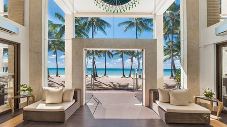 Earthy tones and lots of light create a calming vibe at the District Boracay in the Philippines