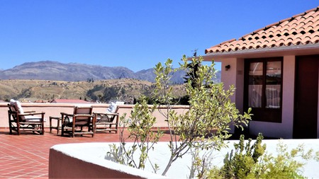 Enjoy sublime views of the city and surrounding mountains from Villa Antigua Hotel in Sucre, Bolivia