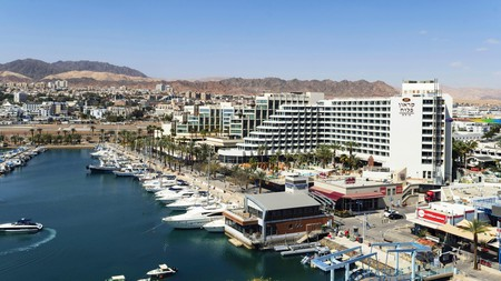 Eilat's glittering marina is home to some of the resort's swankiest hotels