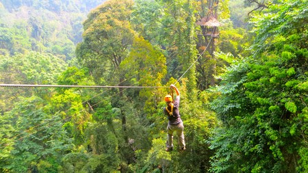 Zip lining through the jungle canopy is a popular activity in the area around Chiang Mai