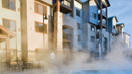 After a day of adventures, soak your tired limbs in the outdoor pool at the Silverado Lodge
