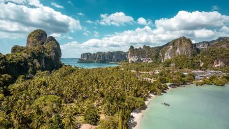 Enjoy the serene surroundings of Railay Beach in Krabi, Thailand