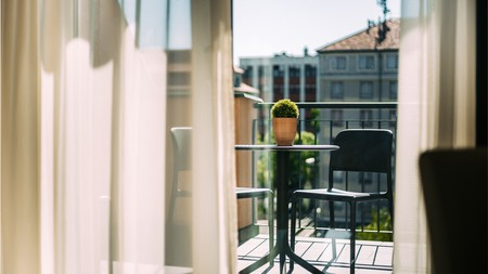 Auris Hotel's private balconies offer a secluded place to enjoy courtyard views