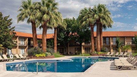 The Desert Garden Inn's central courtyard pool makes it a good base for your adventures in St. George