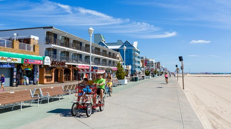 The long stretch of boardwalk at Ocean City, Maryland, is home to shops, arcades, amusement parks and museums
