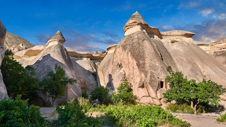 Cappadocia is home to tall, cone-shaped rock formations
