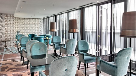 The on-site restaurant at Falkensteiner Hotel Belgrade offers fine-dining options in the lively commercial area, Blok 11B