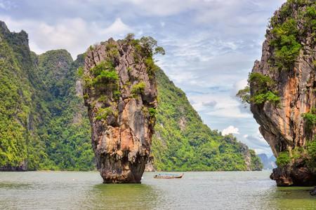Cruise beside the karst towers of James Bond Island, in Ao Phang Nga National Park