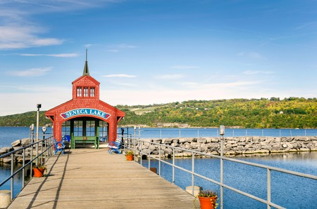 Geneva is popular for its surrounding wineries and trout fishing on Seneca Lake