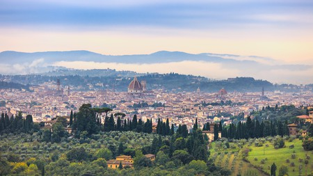Florence on a foggy morning as seen from Fiesole hill