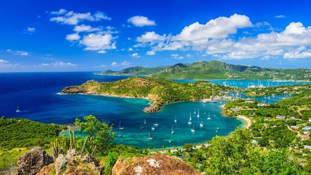 It's easy to get to Antigua from the US mainland; once you're here, enjoy this view over English Harbour