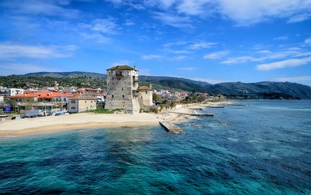 The ancient Ouranoupolis Tower on the Athos peninsula in Halkidiki, Greece