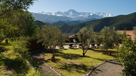 Kasbah Bab Ourika is a hilltop fortification that has been adapted into a luxury retreat