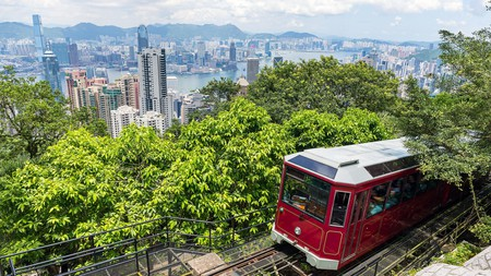 The historic Peak Tram offers unique angles from which to view Hong Kong's skyline