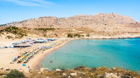 Enjoy the golden sands and teal-hued waters of Agathi Beach on your trip to Rhodes