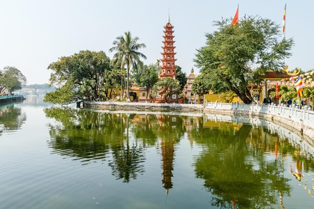 Tran Quoc Pagoda, the oldest Buddhist pagoda in Hanoi, sits on the shores of West Lake