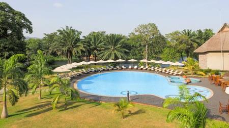 Relax poolside at the Royal Senchi Resort in Akosombo, Ghana