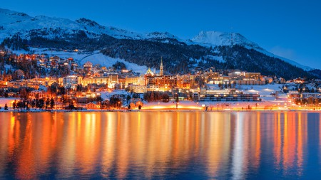 The view of St Moritz across the lake is stunning any time of day or night