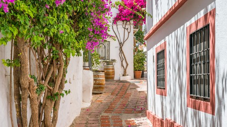 The cobbled streets of Marbella Old Town, Spain, await for enchanting strolls