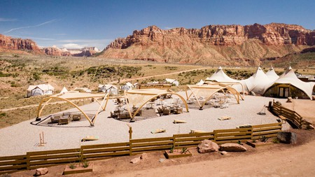 Enjoy the wilds of Utah with your four-legged friend from your glamping tent at Under Canvas Zion