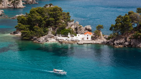 Panagias Island sits just off Parga, a mainland destination favoured by the rich and famous