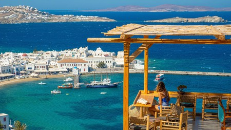 Chora, the main town on Mykonos, as seen from the Sunset 180 bar