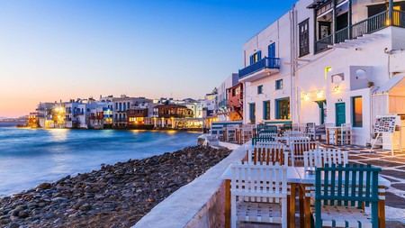 The waterfront in Little Venice is a popular spot for romantic dinners on Mykonos