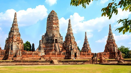 The pagodas of temple Wat Chai Watthanaram in Ayutthaya Historical Park are some of Thailand's best preserved