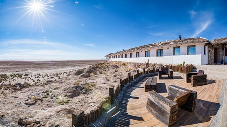 Look out over the largest salt flat in the world from Hotel de Sal Luna Salada in Uyuni